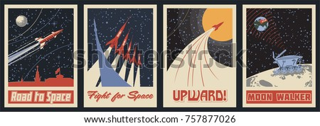 Vector Space Posters. Stylization under the Retro Soviet Space Propaganda - Shutterstock ID 757877026