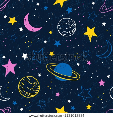 Vector space seamless pattern with colorful planets and stars. Night sky hand drawn doodle multicolor background