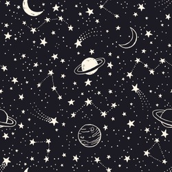 Vector space seamless pattern with planets, comets, constellations and stars. Night sky hand drawn doodle astronomical background