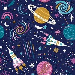 Vector space seamless pattern with planets, spaceships, galaxy and stars. Bright repeated texture with cosmic elements. Cute childish design for kids fabric and wrapping paper.