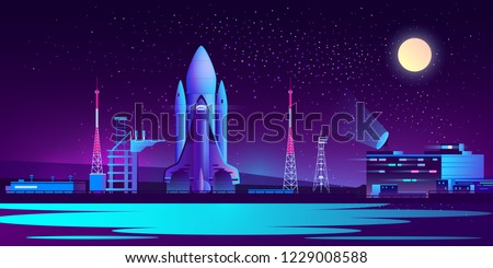 Vector spaceport at night with rocket, control room and radio tower. Science cosmic base, rocket or spaceship ready to launch in ultra violet colors on full moon background. Technology concept.