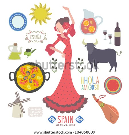 Vector Spain food and culture Illustration set