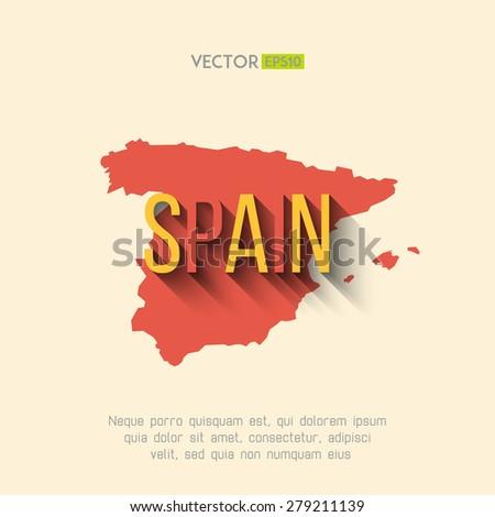 vector spain map in flat design