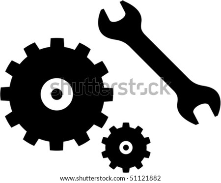 Vector spanner and gears illustration