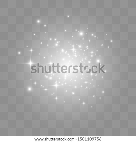 Vector sparkles on a transparent background. Christmas abstract pattern. Sparkling magical dust particles.