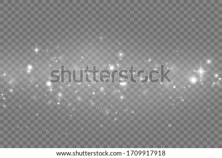 Vector sparkles on transparent background. Christmas abstract pattern. Sparkling magic dust particles