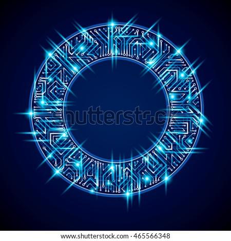 Vector sparkling circuit board circle, digital technologies abstraction. Blue shine computer microprocessor scheme, neon futuristic design.
