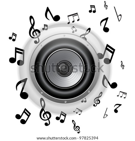 Vector - Speaker Glass Button with Music Notes