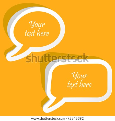 Vector speech bubble for dialogue. Orange icons