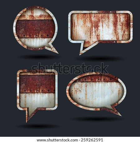 Vector speech bubble icons, With grunge chipped paint rusty textured metal background