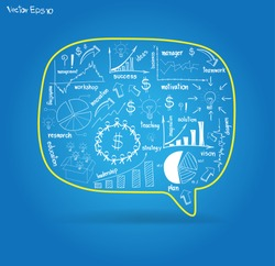 Vector speech bubble with drawing business strategy plan concept idea