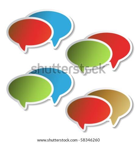 Vector speech bubbles - color stickers - stock vector