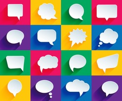 vector speech bubbles in flat design with shadows