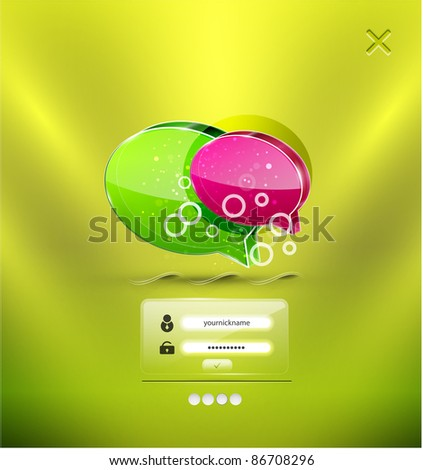 Vector speech bubbles login background - stock vector