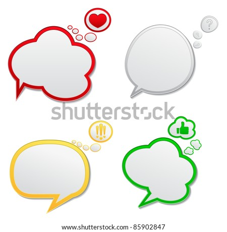 Vector Speech Bubbles with Icons