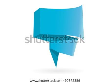 Vector speech origami bubble. - stock vector