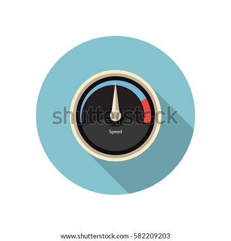 Vector speed gauge icon. Speedometer icon.