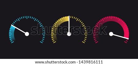 Vector speedometer Icon. Internet Speed. Speed, power and  fuel gauge meter stages. Symbol of speed