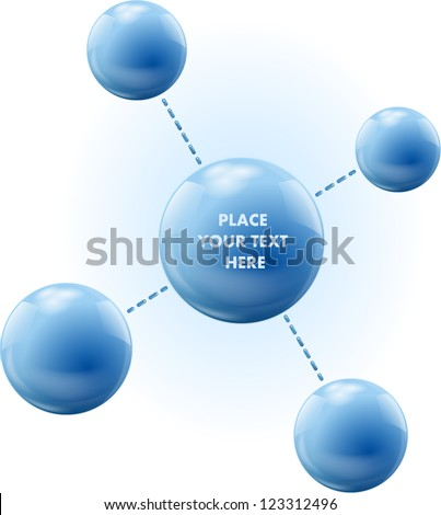 Vector spheres. Connections like a molecule structure