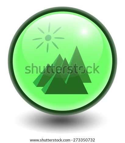 Vector spherical icon of mountain recreation. Glossy button. Eps 10.