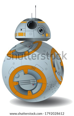Vector spherical robot in futuristic style