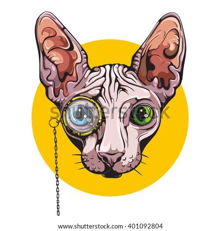vector sphinx cat vintage