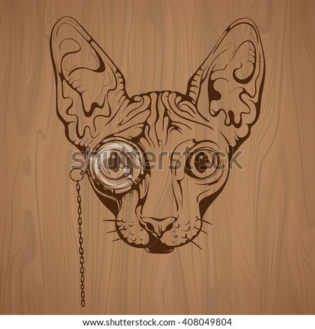 vector sphinx cat vintage on a