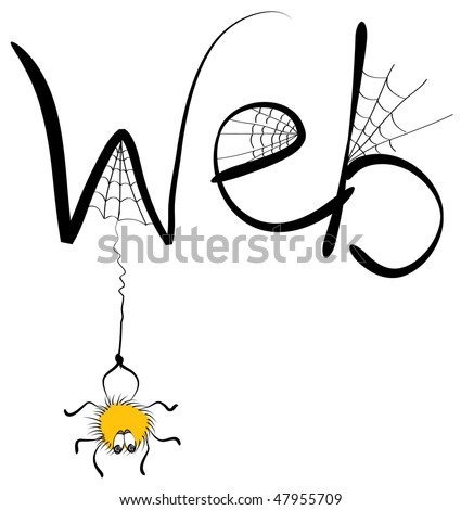 Vector spider and web.Cartoons