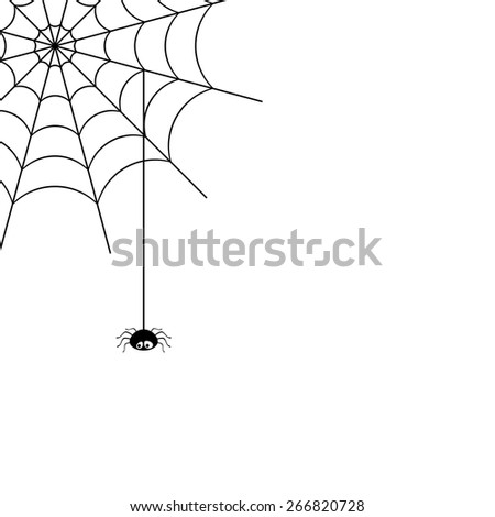 Vector spider web and small spider on a white background. #266820728