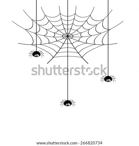 Vector spider web and small spider on a white background. #266820734