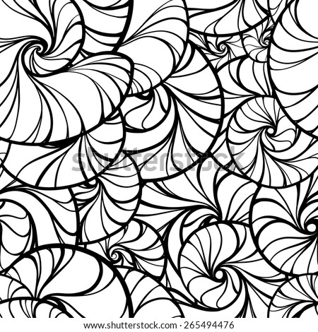 vector spiral shells black and