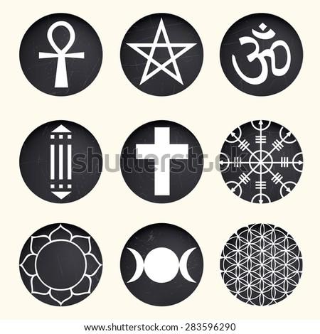 vector spiritual symbols set on