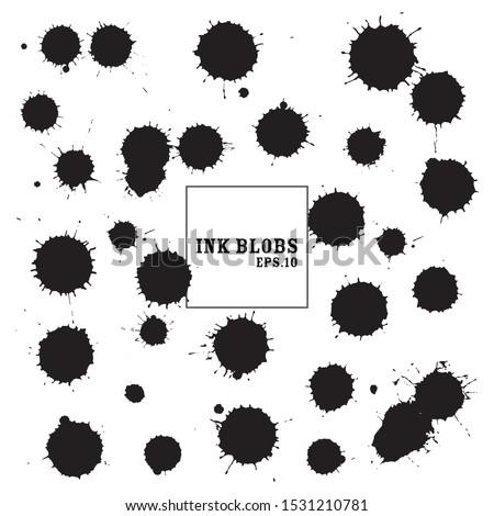 Vector splash ink.Black ink blobs stains.
