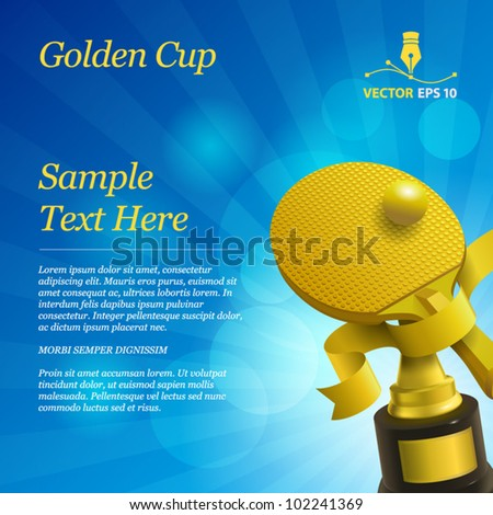 Vector sport background with golden cup