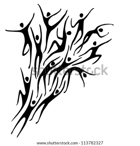 Vector sport background with silhouettes of person and text box. Abstract black and white illustration with figures of peoples in motion. Concept of freedom, competition, activity for print and web