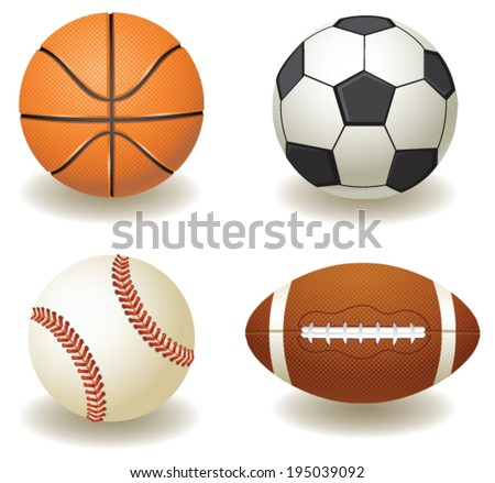 vector sport balls football, soccer, basketball, baseball