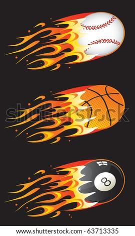 Vector sport balls in fire 01