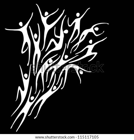 Vector sport black background with white silhouettes of person and text box. Abstract illustration with stylized figures of peoples in motion. Concept of freedom, competition, activity for print, web