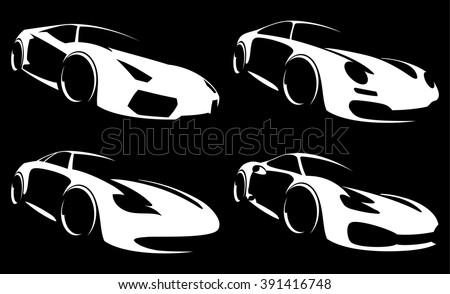 vector sport car silhouette set