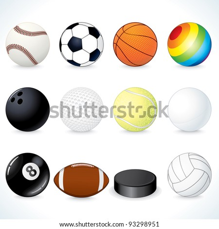 Vector Sport Clip Art. Soccer, Rugby, Tennis, Volleyball, Basketball Balls and other Equipment