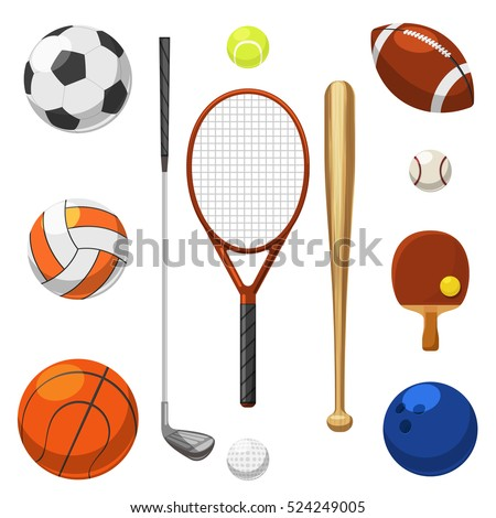 Vector sport equipment icons. Sports exercises items. Racket and bat for sport game illustration