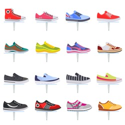 Vector sport shoes sneakers flat icon collection set.