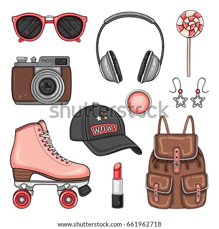 Vector sport woman's fashion set of roller skates, headphones, cap, photo camera, sunglasses and accessories. Hipster patch badges collection