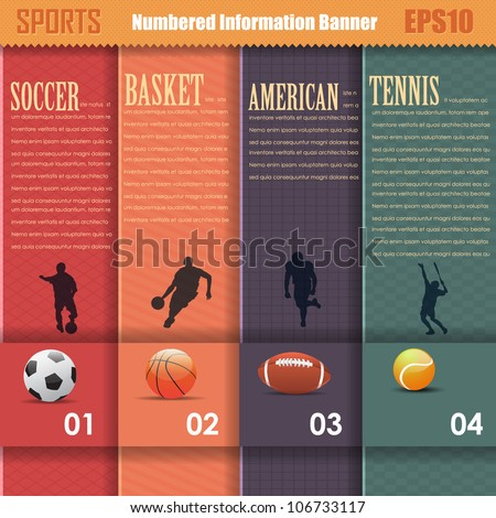 Vector Sports Background Number Options Banner & Card - stock vector