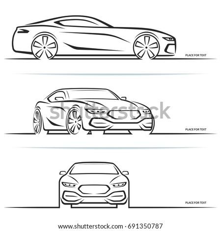 vector sports car silhouette