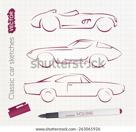 vector sports car sketches