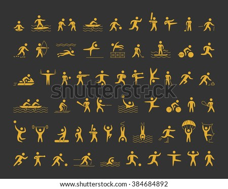vector sports icons set gold