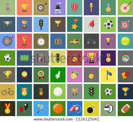 vector sports icons set - play tennis, football, rugby, bowling, soccer, baseball and basketball