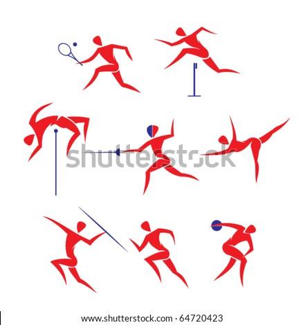 vector sports symbols: tennis, run, discus throwing, javelin throwing, gymnastics, fencing, high jump