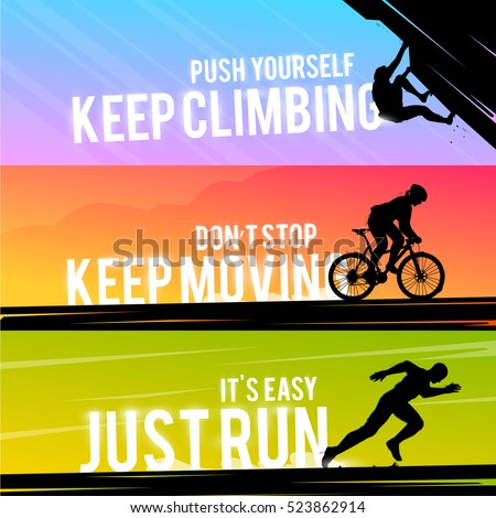 Vector sports web banner. Motivational concept. The silhouette of the biker. Runner silhouette. Running man. The silhouette of the climber. Extreme outdoor sports.